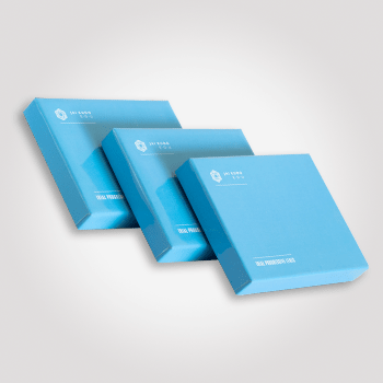 Trzy niebieskie pudełka tektura kaszerowana